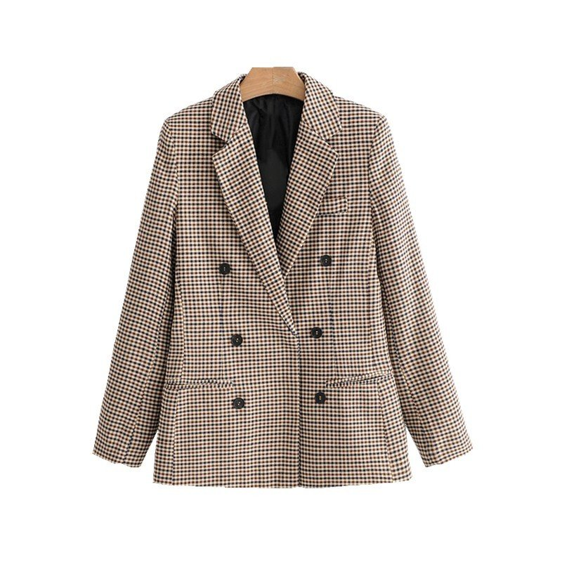 Women Elegant Plaid Blazer Suit Long Sleeve Double Breasted Slim Checked Coat Formal Office Work Jacket Houndstooth Outerwear 26