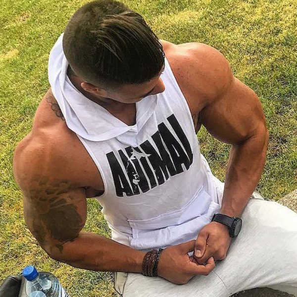 Men Bodybuilding Cotton Tank top Gyms Fitness Hooded Vest Sleeveless Shirt Summer Casual Fashion Workout Brand Clothing 20