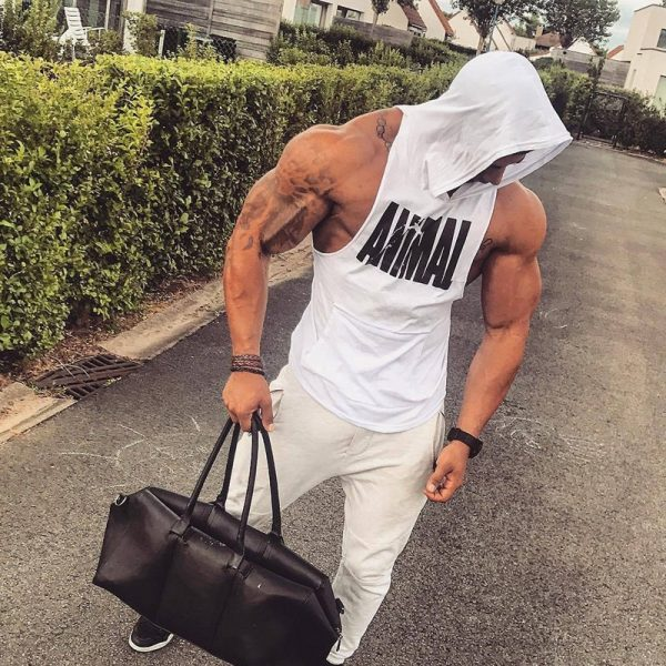 Men Bodybuilding Cotton Tank top Gyms Fitness Hooded Vest Sleeveless Shirt Summer Casual Fashion Workout Brand Clothing 21