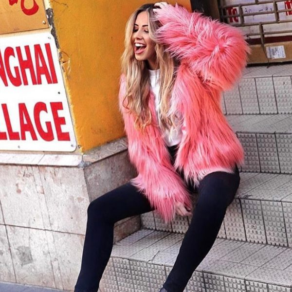 Fashion Furry Faux Fur Coat Women Fluffy Warm Long Sleeve Female Outerwear Autumn Winter Coat Jacket Hairy Collarless Overcoat 2