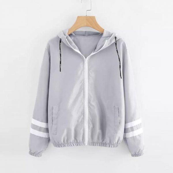 Autumn Women Contrast Ribbons Trim Zip Up Hooded Jacket Striped Patched Sleeve Girl Coat Outwear Windbreaker Jacket 1